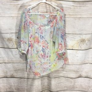 CAbi small loose shirt flow floral thin bright col